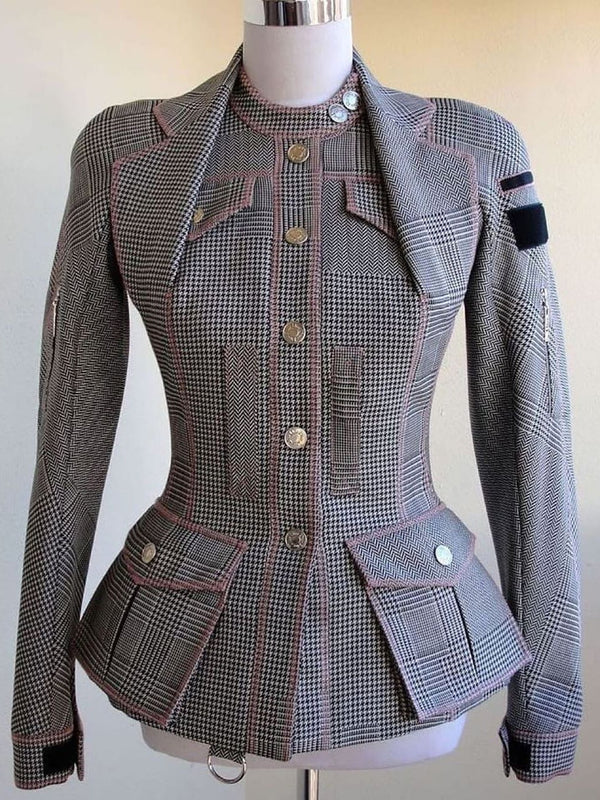 Round neck waist plaid blazer
