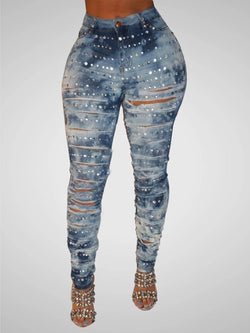 Sexy Crystal Denim Bodycon Pants