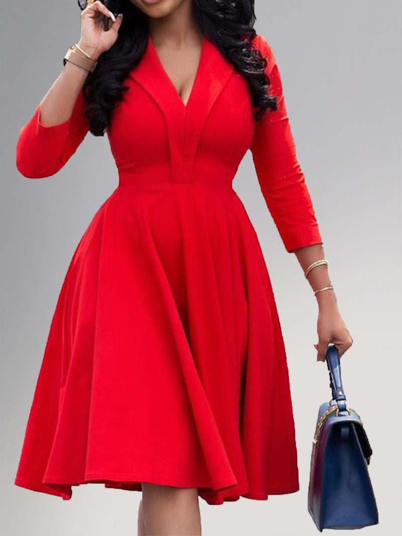 A-Line 3/4 Sleeve Draped Solid Dresses