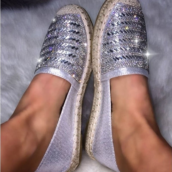 Gray Holiday Sparkling Glitter Flats