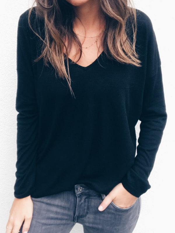 Black Long Sleeve V Neck Sweater
