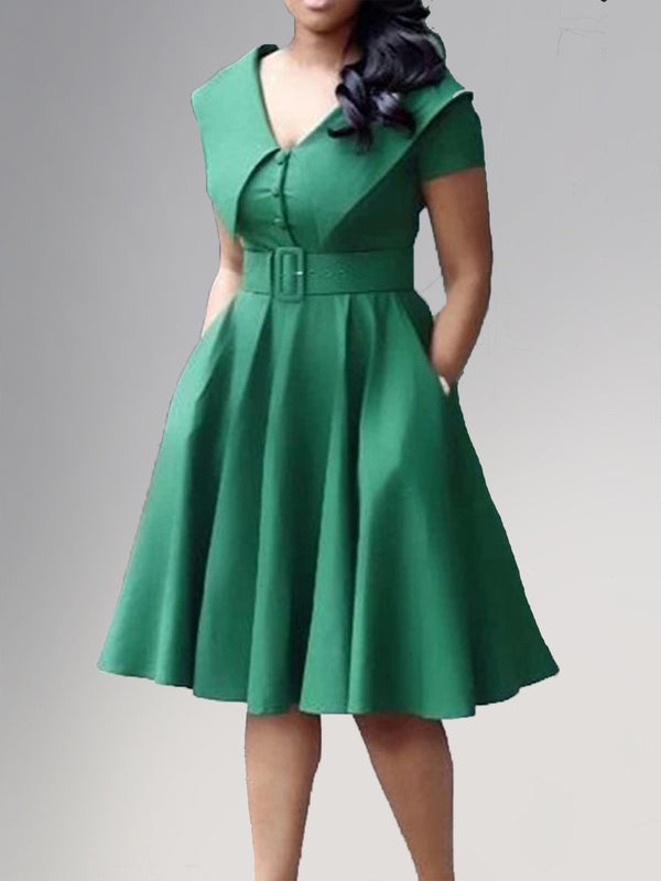 Sweet Shawl Collar Solid Buttoned Dresses With Belt