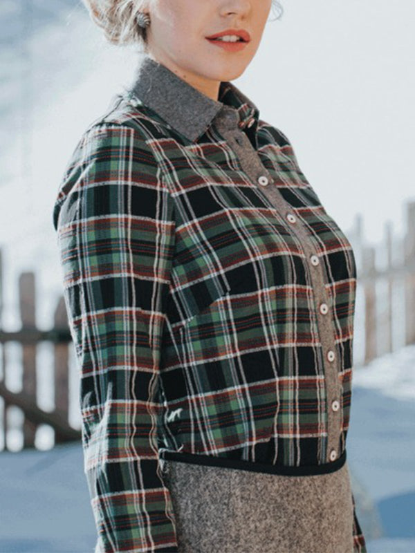 Plus Size Vintage Plaid Long Sleeve Casual Shirts Tops