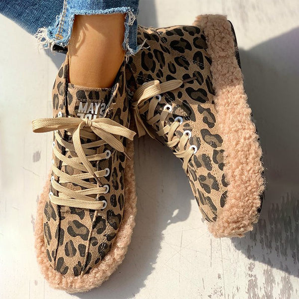 Fluffy Leopard Lace-Up Low Top Sneakers