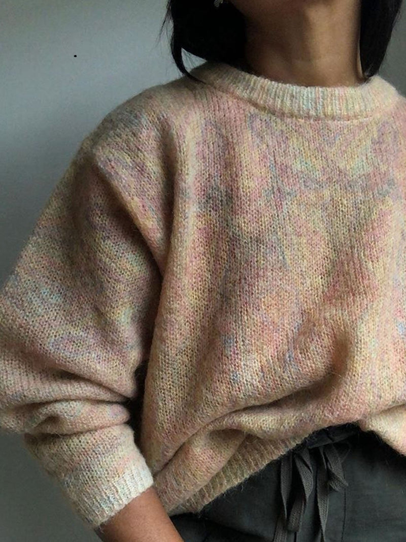 Cotton-Blend Casual Crew Neck Sweater