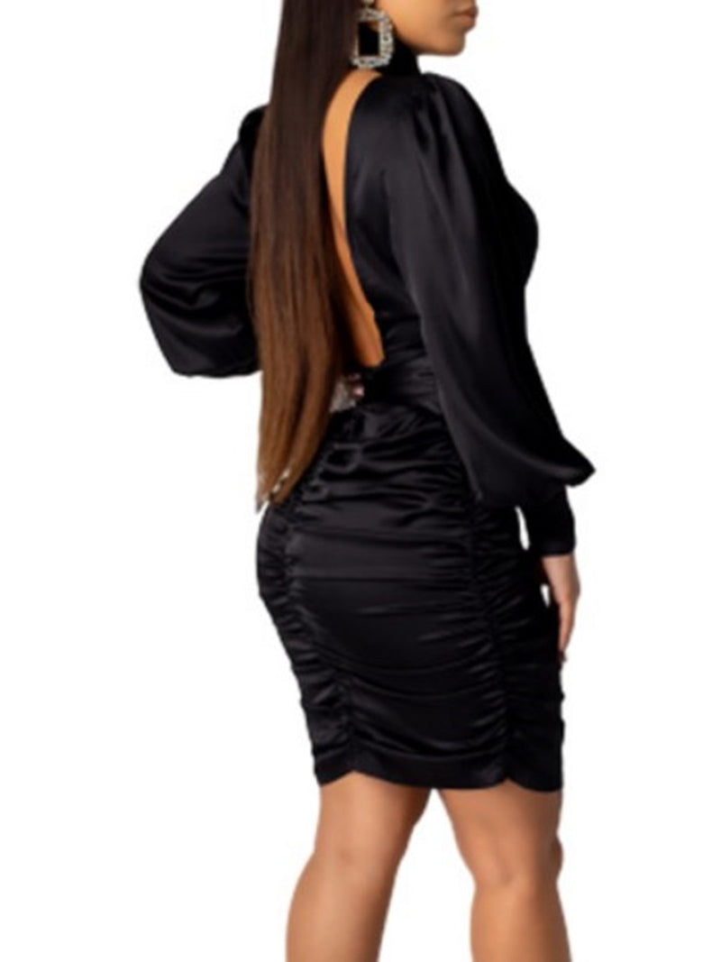Solid Cut Out Chest Backless Ruched Dress