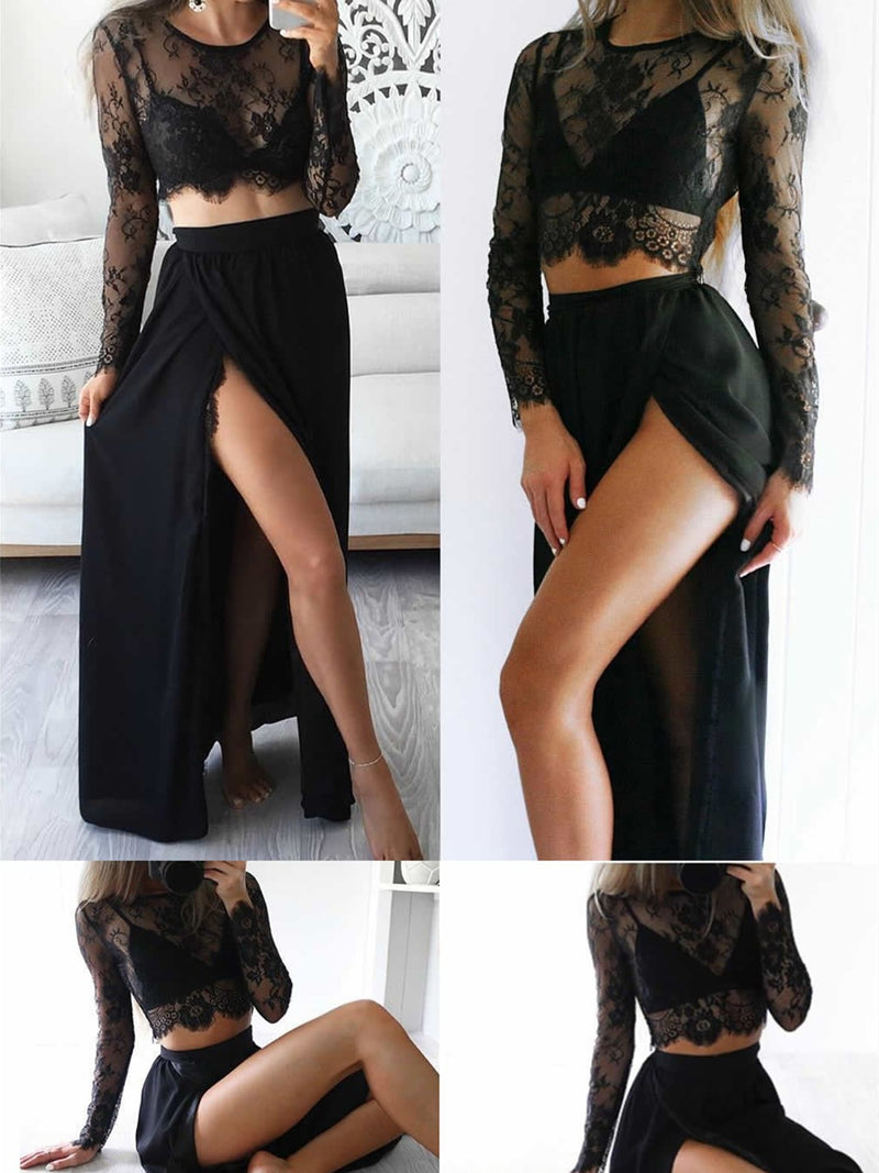 Black Long Sleeve Crew Neck Sexy Dresses