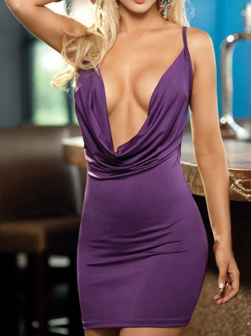 Drape Neck Open Back Party Bodycon Dress