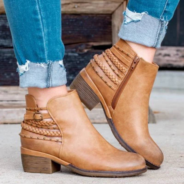 ARTIFICIAL LEATHER CASUAL LOW HIGH ANKLE BOOTS