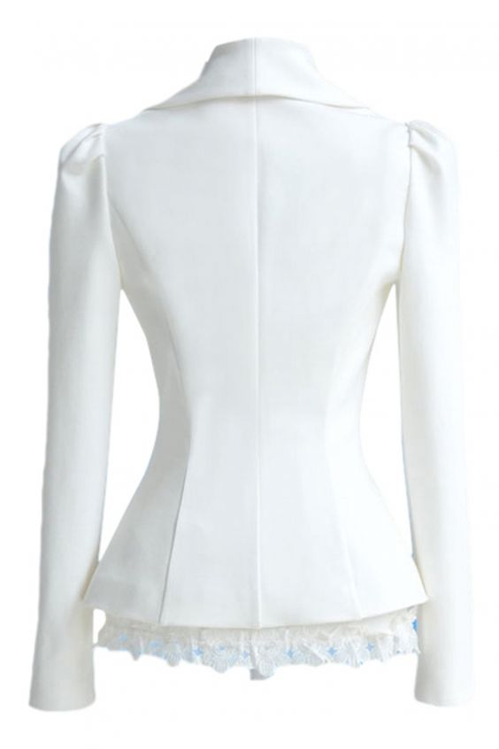 White Plain Long Sleeve Shift Outerwear