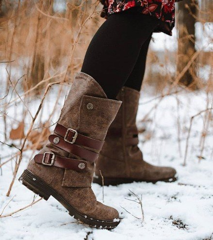 Women Warm Rider Boots with Buckle