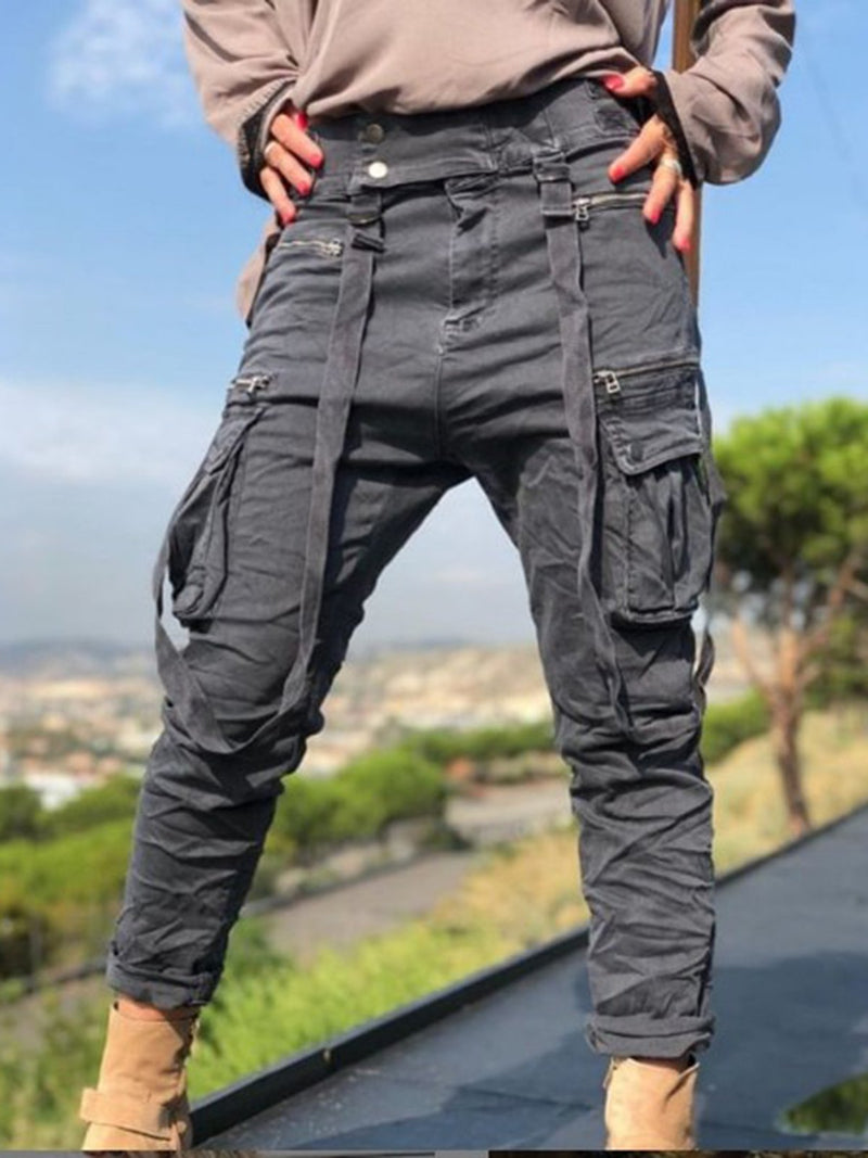 Deep Gray Plain Casual Cotton-Blend Pants