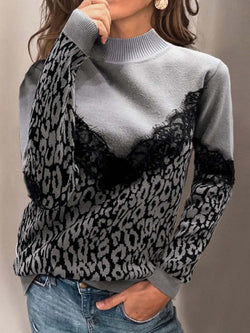 Leopard Print Paneled Turtleneck Long Sleeve Sweatshirt