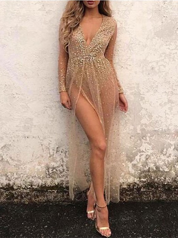 Maxi Dress Glitter Sheer Bodysuit Dress Plunging Long Sleeve Split Women Sexy Dress
