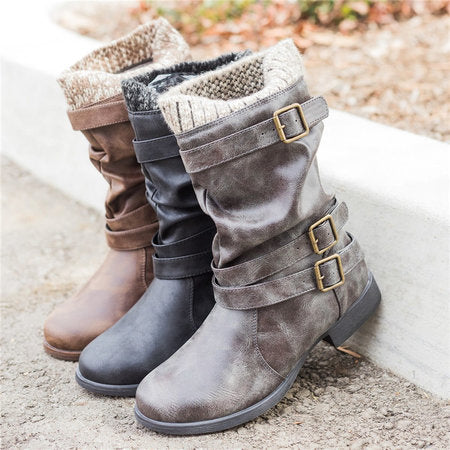Blocking Hook-Loop Cowboy Outdoor Boots
