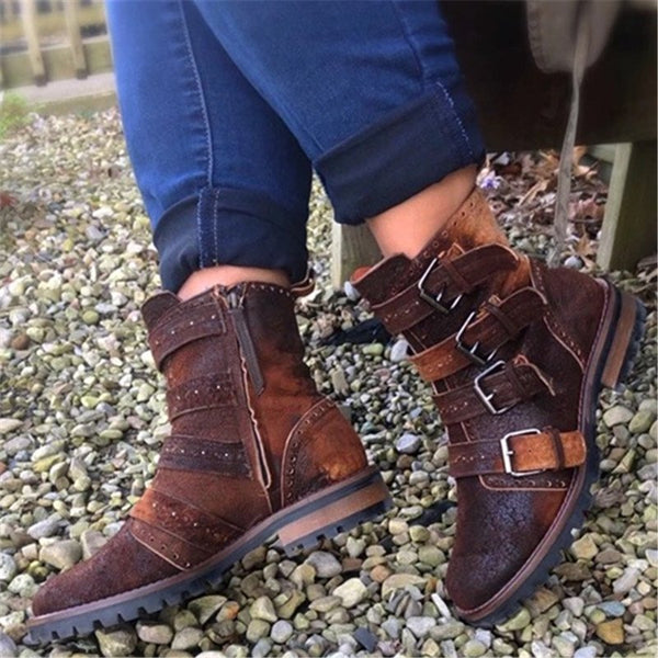 Women Casual Daily Buckle Strap Low Heel Boots