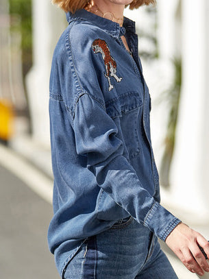 Blue Casual Denim Shift Shirt Collar Shirts & Tops