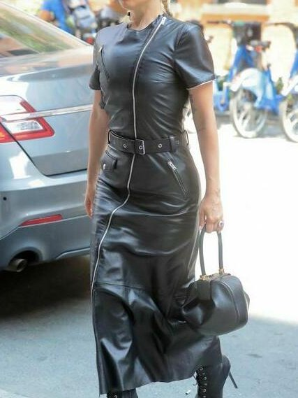 Black Short Sleeve Faux Leather Dresses