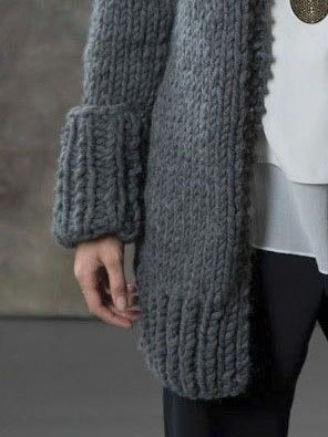 Gray Long Sleeve Solid Sweater