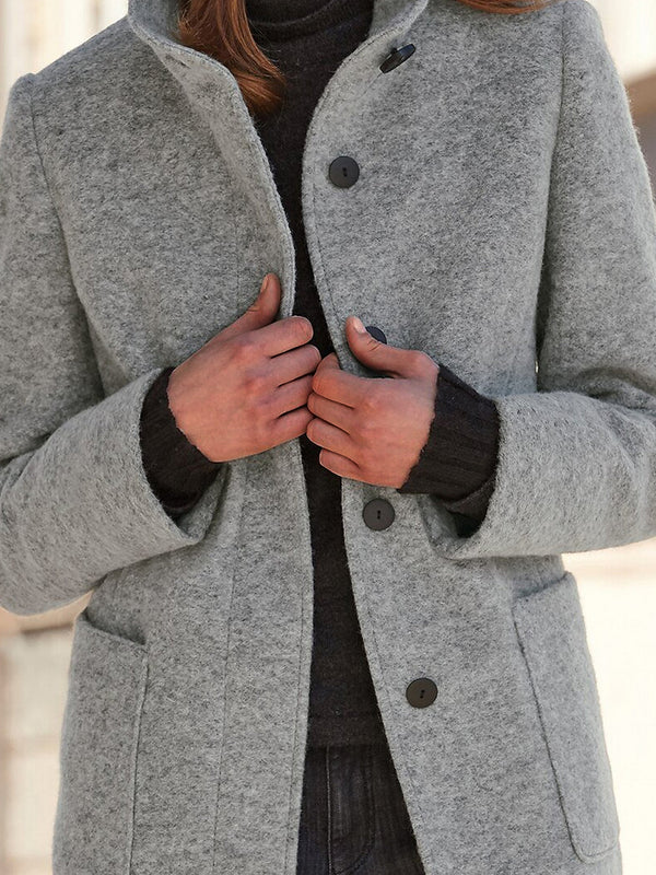 Gray Cotton-Blend Solid Stand Collar Long Sleeve Outerwear