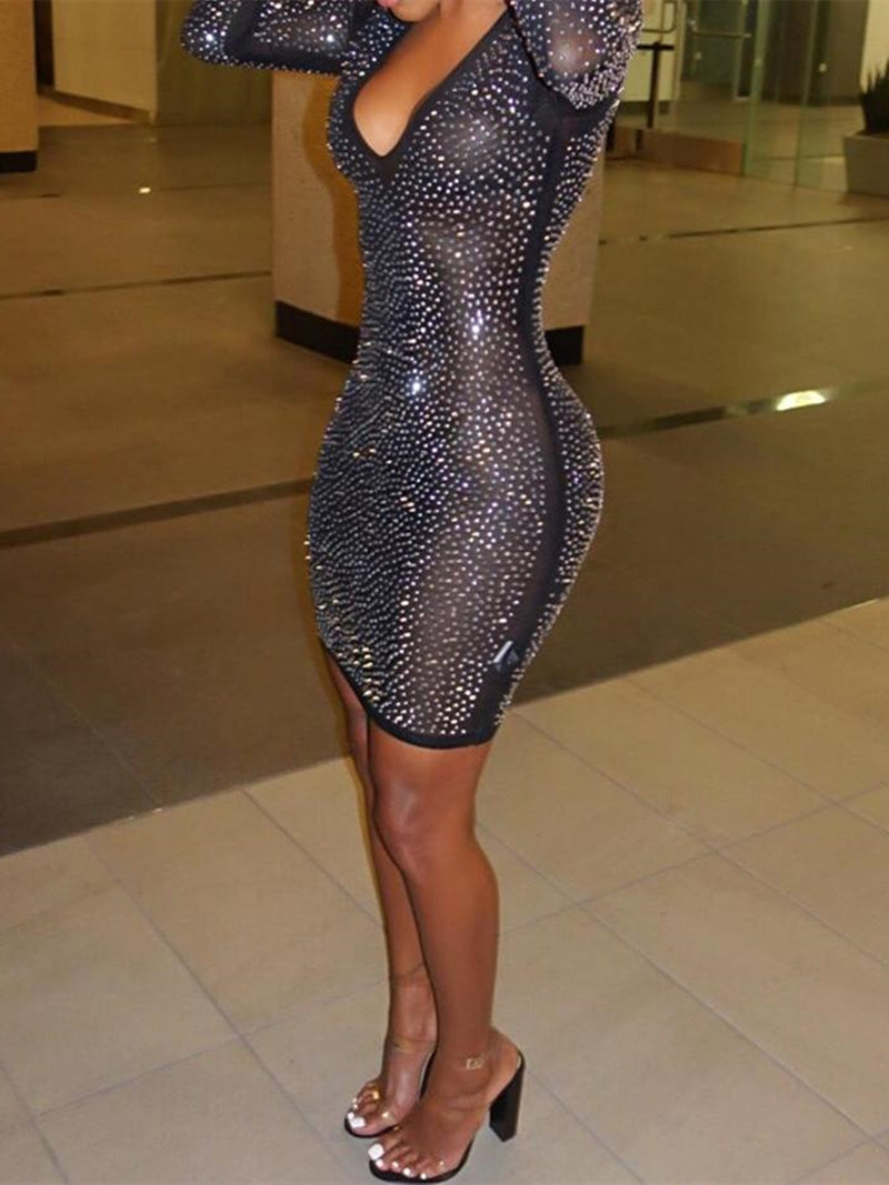 Black Friday Cyber Hot Stamping Mesh Bodycon Dress