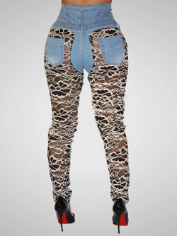 Denim Blue Leopard Print Sexy Denim Pants