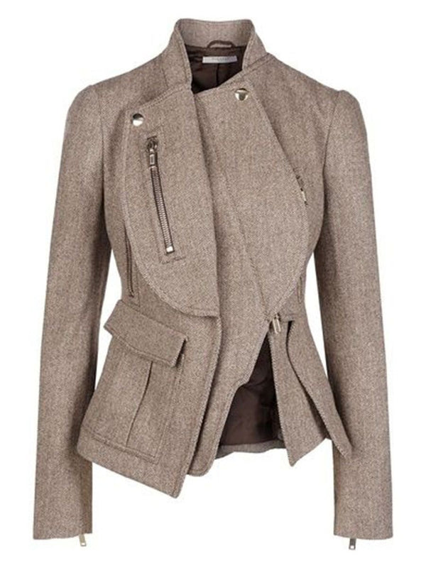 Asymmetrical collar riding jacket