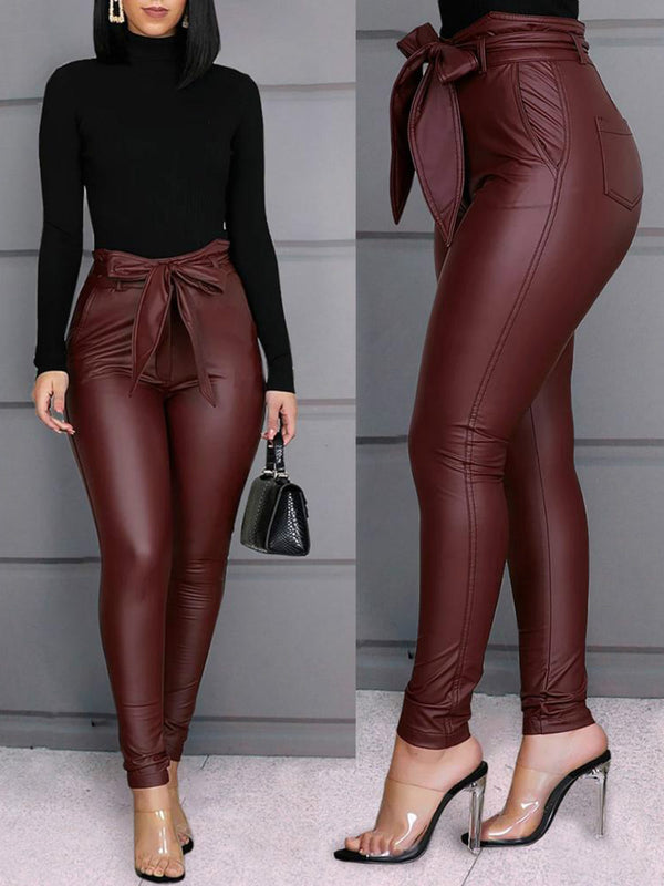 Wine Red Sexy Pu Solid Pants