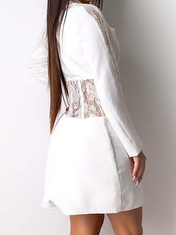 White Patchwork Lace A-Line Long Sleeve Outerwear