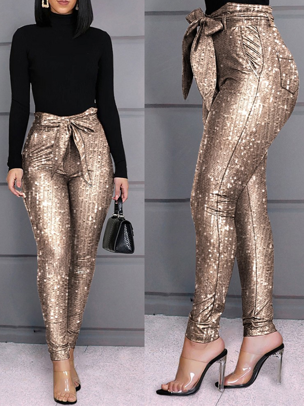 Golden Sexy Sheath Plain Pants