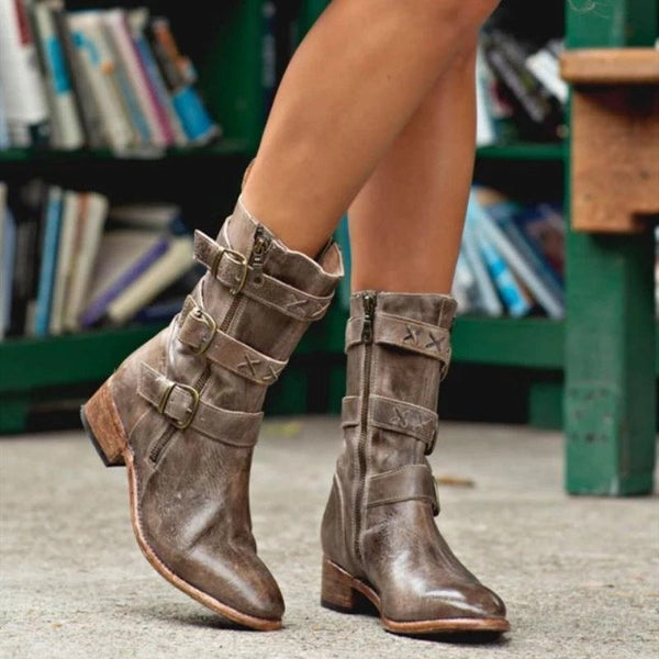 Women Casual Buckle Strap Low Heel Boots
