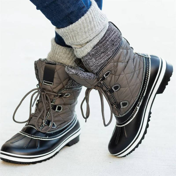 Fashion Knitted Cuff Warm Duck Boots Waterproof Shoes