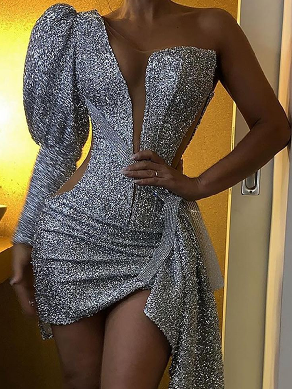 Silver Sexy Sheath V Neck Plain Dresses