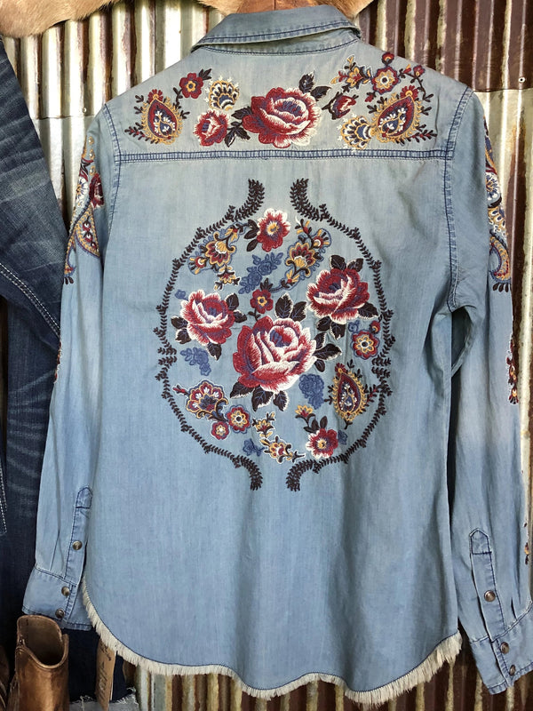 Blue Denim Shift Boho Shirts & Tops