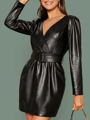 Black Casual Sheath Long Sleeve Faux Leather Dresses