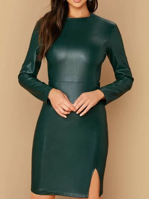Green Vintage Crew Neck Faux Leather Sheath Dresses