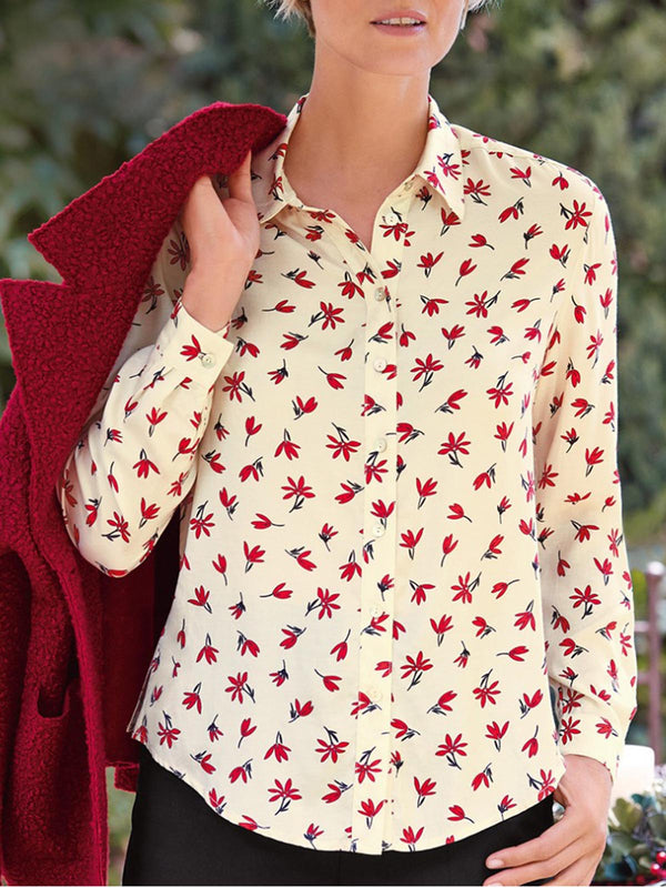 Red Shirt Collar Casual Floral Shirts & Tops