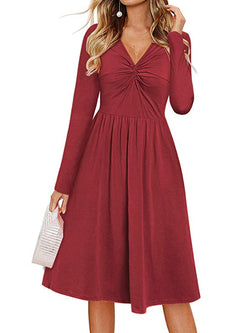 Vintage V Neck Solid Long Sleeve Dresses