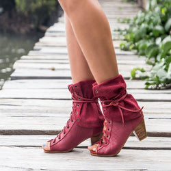 Lace-Up All Season Pu Chunky Heel Peep Toe Boots