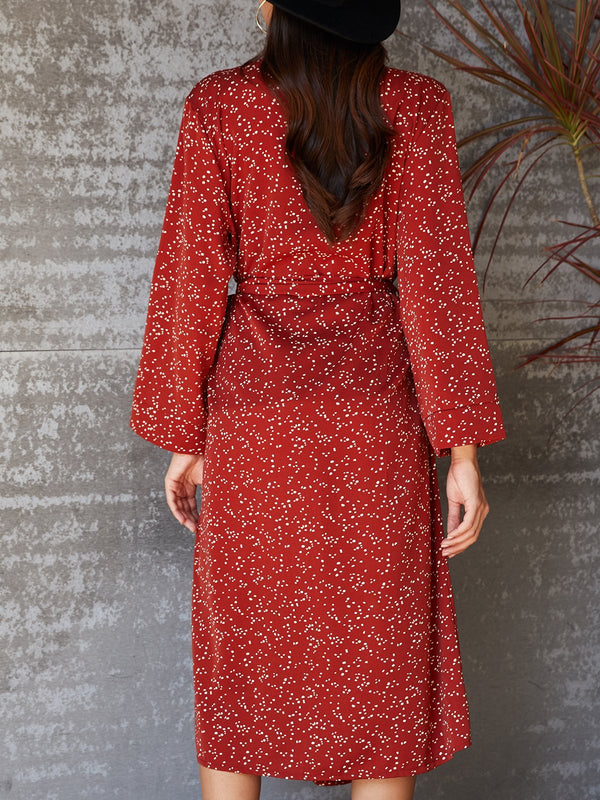 Red Long Sleeve Polka Dots V Neck Shift Dresses