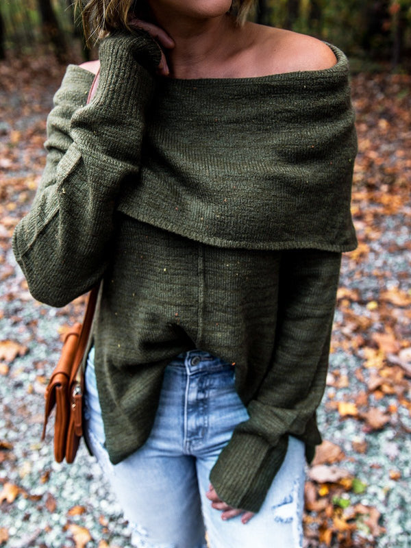 Green Casual Off Shoulder Knitted Sweater