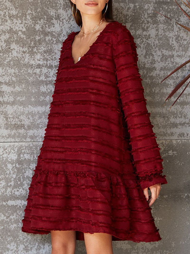 Red Cotton Solid Balloon Sleeve Casual Dresses