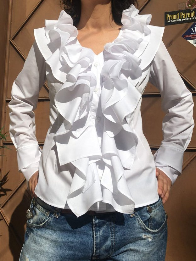 White Cotton-Blend Plain Long Sleeve Shirts & Tops