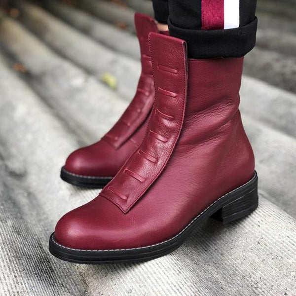 Women Artificial Leather Side Zipper Boots