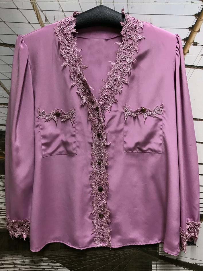 Purple V Neck Long Sleeve Shirts & Tops