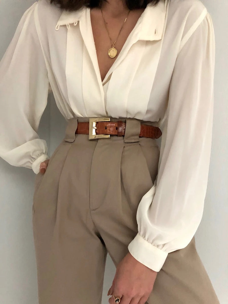 Beige V Neck Long Sleeve Shirts & Tops