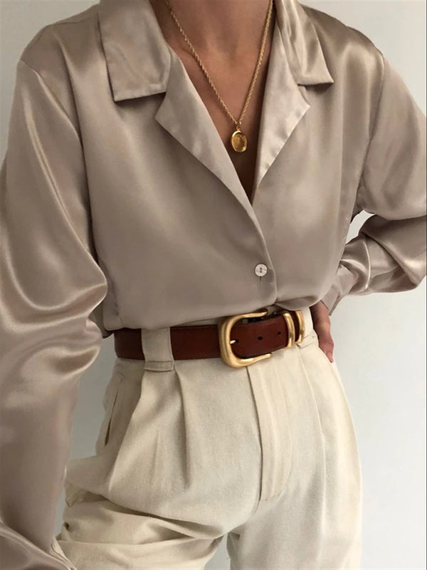 Taupe Casual Solid V Neck Shirts & Tops