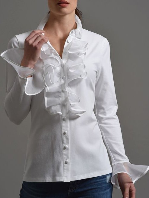White Long Sleeve Cotton Shirts & Tops