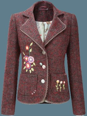 Wine Red Cotton-Blend Lapel Vintage Outerwear