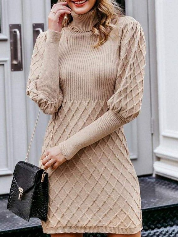 Apricot Knitted Casual Dresses